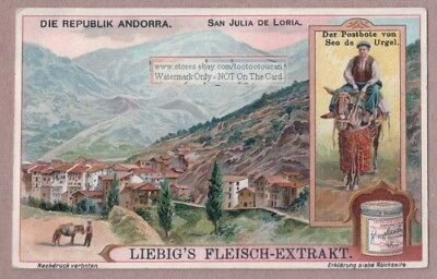 Mailman Postman  Riding A Donkey In Andorra c1915 Trade Ad Card