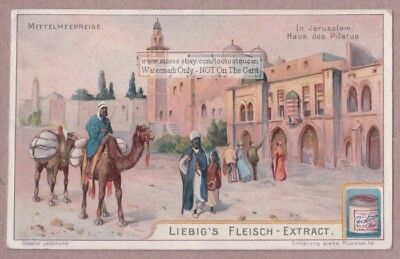 Camel  House Of Pilate Jerusalem Palestine House Maison c1905 Trade Ad Card