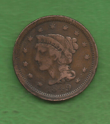 1849 Braided Hair, Large Cent - 168 Years Old!!!