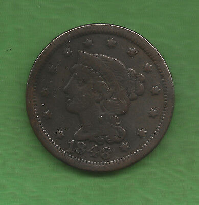 1848 Braided Hair, Large Cent - 169 Years Old!!!