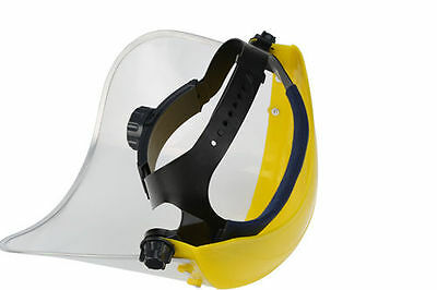 Hi Vis Clear Safety Face Mask Shield Visor with Head Band Open Close Flip Up NEW