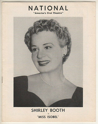 """Shirley Booth """"Miss Isobel""""  Tryout Playbill 1957 Washington, DC  HZ"""