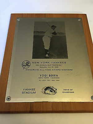 """Yogi Berra Personally Owned 1965 Yankee Stadium """"Old Timers Day"""" Plaque"""