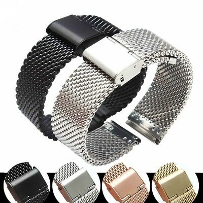20/22/24mm Replacement Stainless Steel Mesh Watch-Band Bracelet Strap Clasp Neu