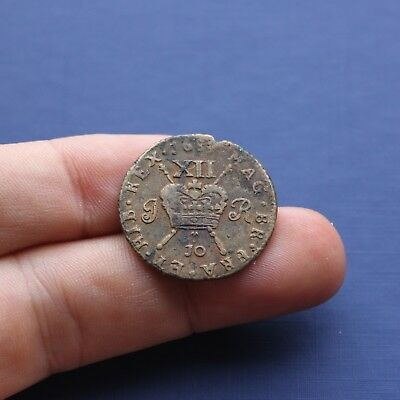 Milled Base Coin James 2nd Gunmoney Large Shilling Dec 1689 (10r) AD