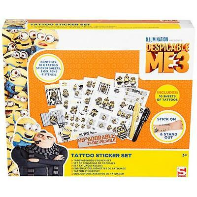 Despicable me 3 Minions Childrens Kids Tattoo Sticker Set Gel Pens Stencil Gift