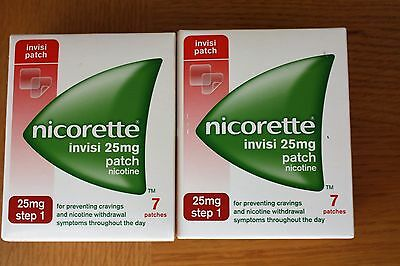 Nicorette Invisi 25mg Patch step1 x 2 packs 14 Patches