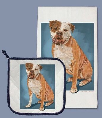 Dish Towel & Pot Holder - American Bulldog DP707