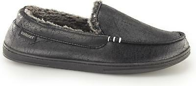 Totes Isotoner DISTRESSED Mens Warm Faux Fur Memory Foam Moccasin Slippers Black