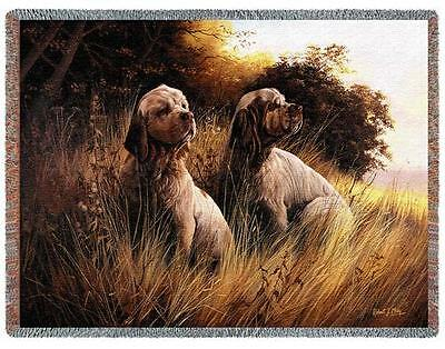 Throw Tapestry Afghan - Clumber Spaniel Pair by Robert May 1441