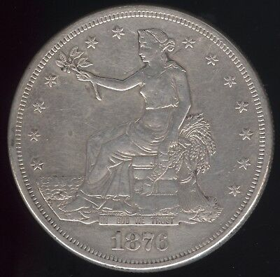 Genuine 1876-S US Silver Trade Dollar with VF Details