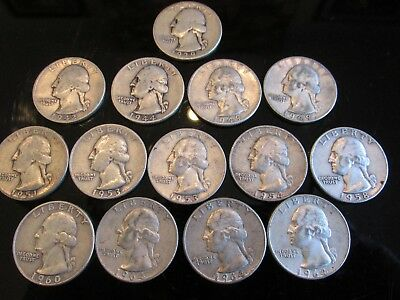 Lot of 14 Silver Quarters Dating From 1939 - 1964
