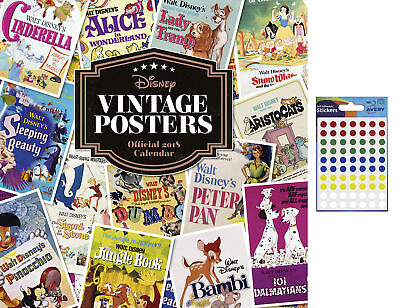 Disney Vintage Posters Official 2018 Calendar - Includes 70 Dot Stickers