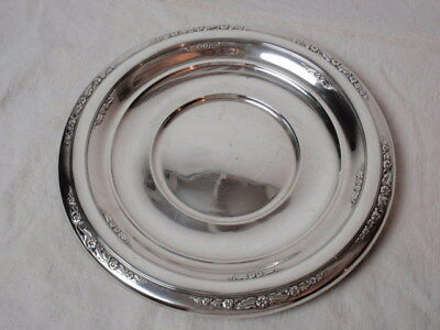 "Retro Sterling Silver 10"" Round Plate Tray International Courtship Repousse 320G"