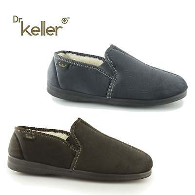 3ca8ebb2fbab Dr Keller DENTON Mens Ribbed Soft Velour Wide Fit Elastic Slip On Full  Slippers