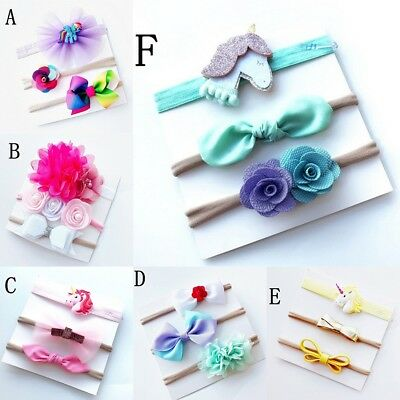 3Pcs/Set Baby Girls Dolls Headband Hair Accessories Cotton Bow Tie Hair Band New