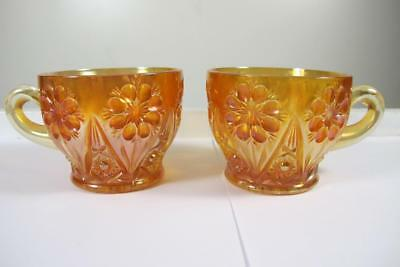 2 Vintage Carnival Imperial Glass 474 Four Seventy Four Marigold Punch Cup