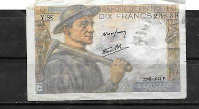 FRANCE #99c 1944 VG CIRC 10 FRANCS OLD BANKNOTE PAPER MONEY CURRENCY BILL NOTE