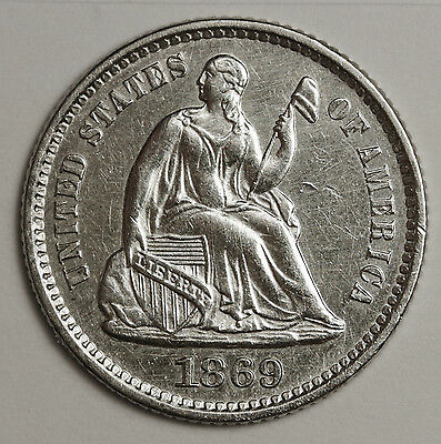 1869 Liberty Seated Half Dime.  UNC.  104630
