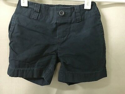LANDS END Navy School Uniform Flat Front Pull On Shortss Little Girls 4 EXC