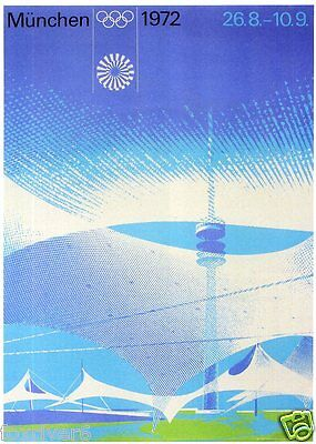 OLYMPICS Munich 1972 Mini-poster / Handbill Summer Olympic Games Munchen reprint