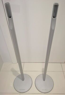 2 x Bowers & Wilkins B&W M1 Tall Floor Speaker Stands Home Cinema in Silver