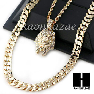 """Men Iced Out King Tut Rope Diamond Cut 30"""" Cuban Link Chain Necklace Set Ss01G"""