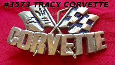 "1981 Rare Vintage Baron ""Corvette"" with Crossflags Solid Brass Belt Buckle #4511"
