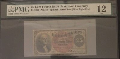 25 Cent fractional Fourth Issue PMG 12