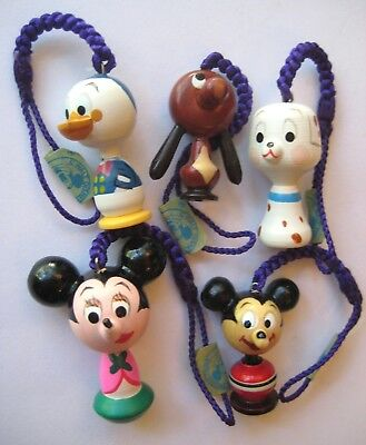 VTG Japanese Wooden DISNEY CHARMS On Cords MICKEY~MINNIE~DONALD~PLUTO 1960's WDP