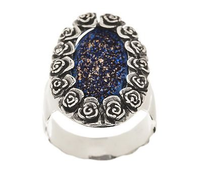 Or Paz Sterling Silver Blue Drusy Quartz Gathered Rose Band Ring Size 7 Qvc