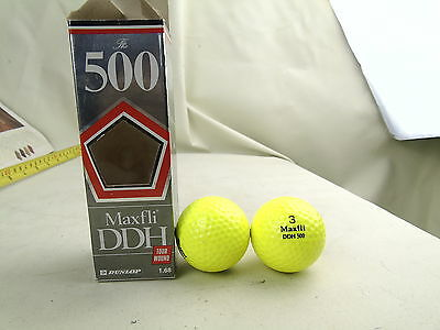 VINTAGE THE 500 MAXfli DDH 2 GOLF BALLS RETRO YELLOW
