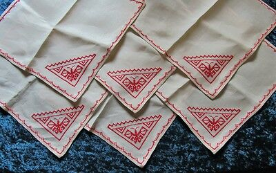 Set of 6 Hand Embroidered Linen Napkins With Butterflies