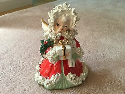 Vintage Napco Christmas Xmas Angel with gift S116A