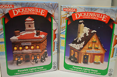 Dickensville Noma Porcelain Lighted Houses Holy's Hat Shoppe & City Hall