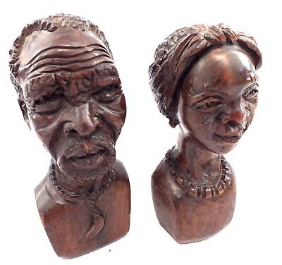 2 x Small Hand carved WOODEN BUSTS Statues 714g Male & Female - N22
