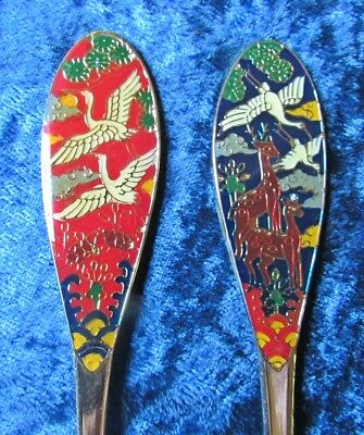 PONS 24K GP Small  Fork & Spoon With Enameled Cloisonne Cranes & Giraffes