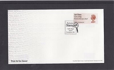 GB 2017  Post & Go Frama Machin 50th Autumn Stampex overprint 1st stamp A12 FDC