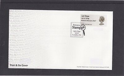 GB 2017  Post & Go Frama Machin 50th Autumn Stampex overprint 1st stamp A13 FDC