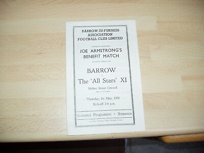 Barrow v The 'All Stars' XI Joe Armstrong Benefit Match 1957/8