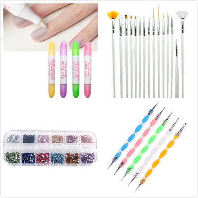 24 Pcs Professional Nail Art Kit Tool Supply Set + Rhinestone for Nail Design