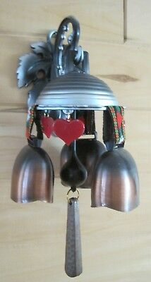 NEW Vintage German Bavarian Wall Mount Dinner Bell Wind Chimes Cow Bells Hearts