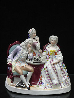Antique Dresden Victorian Couple Playing Chess Figurine Possibly Augustus Rex