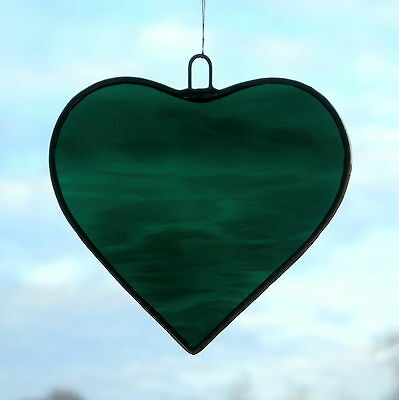 Stained Glass Hanging ornament (Love Heart) in Dark Teal rippling waterglass