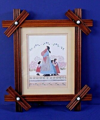 """Barbara Bourgeau-Richards Signed Print """"sisters"""" Antique Victorian Walnut Frame"""