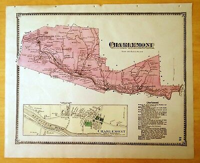 Antique Hand-Colored Map 1871 Charlemont, MA Massachusetts w/Detailed Inset