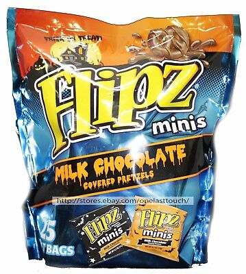 FLIPZ^ 25pc MINIS Treat Bags MILK CHOCOLATE COVERED PRETZELS Halloween EXP. 4/18