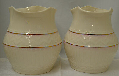 Belleek Squat Vase Lot of 2 In Retrospect Black Mark