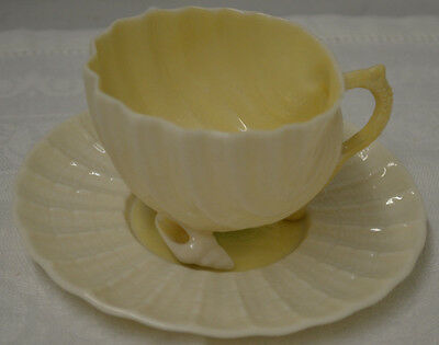 Belleek Neptune Shell Demittasse Cup & Saucer Green Mark