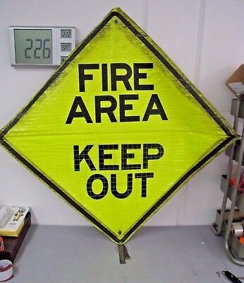 "Reflective Roll-Up Construction Traffic Sign, 48"" x 48"" ""Fire Area"" and ""Merge"""